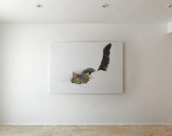 Cat in the snow - Canvas decor