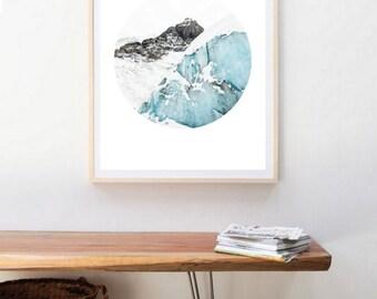 Glaciers circular art print - Circle art - digital collage -  landscape Photography - Printable Poster -  blue sky- ocean- geometry - Nature