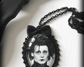 Edward Scissorhands Necklace, Gothic Pendant, Glass Cameo, Tim Burton, Johnny Depp, Movie Jewelry