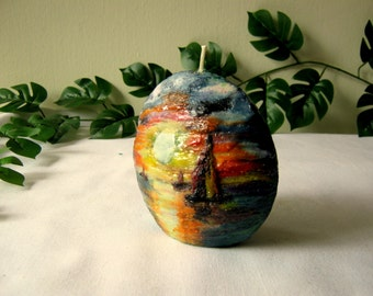 handmade, painted candles ,SUNSET