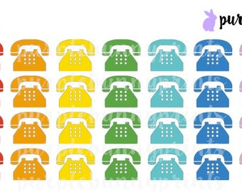 Rainbow Retro Telephone Icons // Planner Stickers!