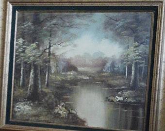 Austin original canvas oil painting  river landscape