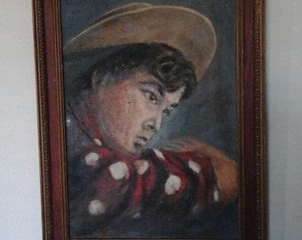 Original oil painting european boy