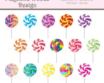 Lollipop Clip Art, Candy Clip Art, Rainbow Lollipop Clip Art, Lolly Pop Clip Art, Lollipop Digital Images, Small Commercial Use Clip Art