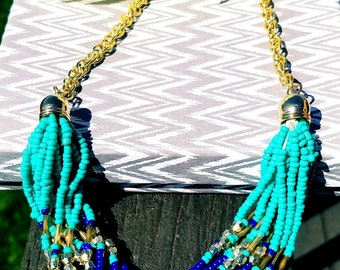 Turquoise necklace, Blue and gold multistranded beaded necklace, blue multistranded necklace, multi-stranded beaded necklace