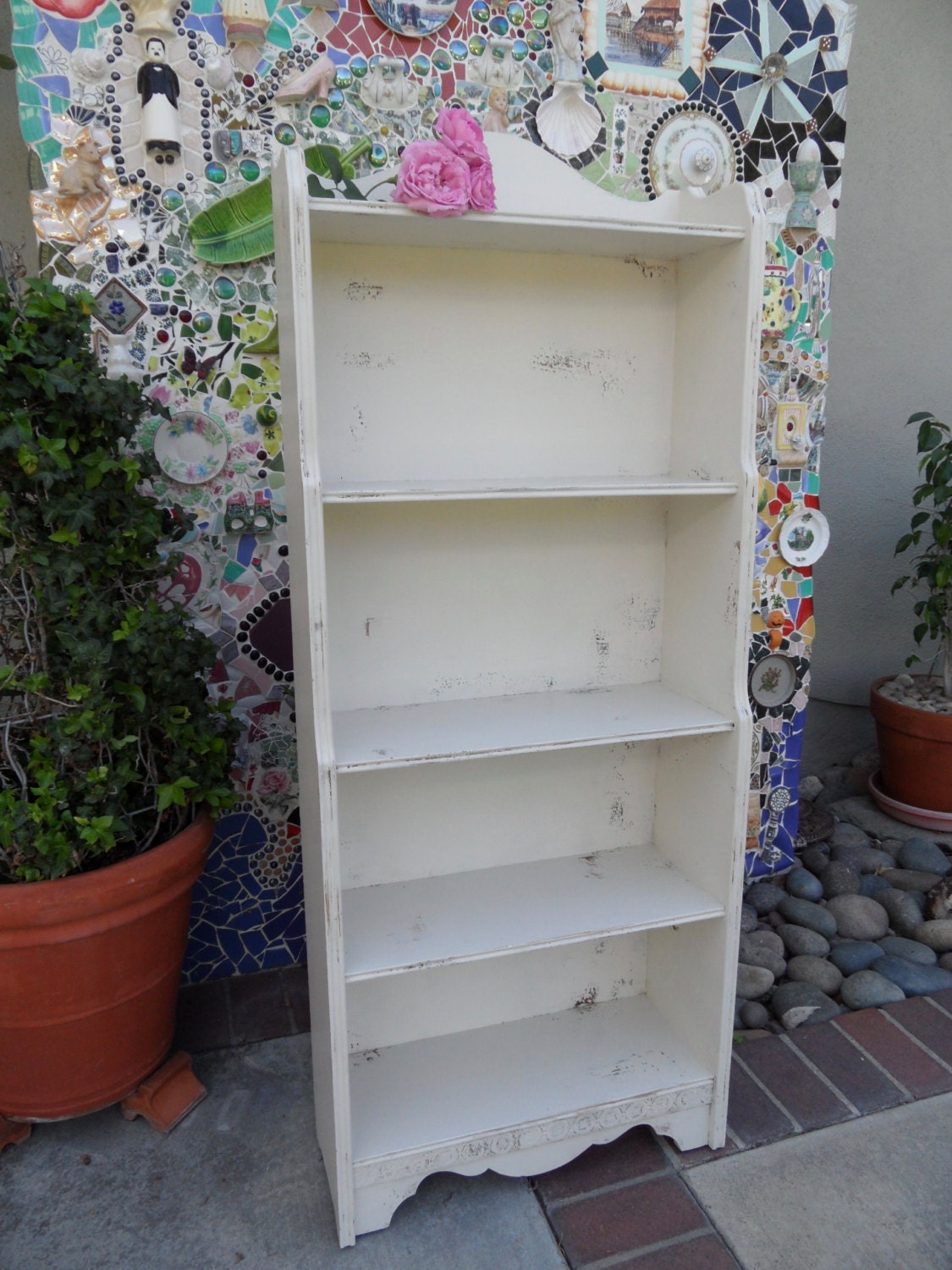 Off White Antique Wood Distressed Bookcase Vintage Shabby
