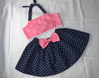 Pink and Navy Nautical anchors and polka dot halter and skirt