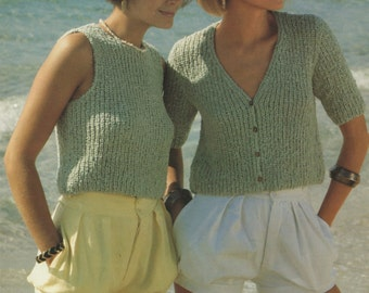 Womens Vest Top and Short Sleeved Cardigan PDF Knitting Pattern : Ladies 32, 34, 36 and 38 inch bust . 81, 86, 91 and 97 cm chest . Download