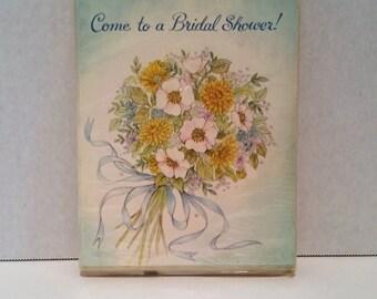 Pretty Vintage Floral Bouquet Bridal Shower Invitations
