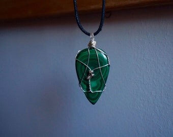 Malachite Wire Wrapped Healing Stone Necklace