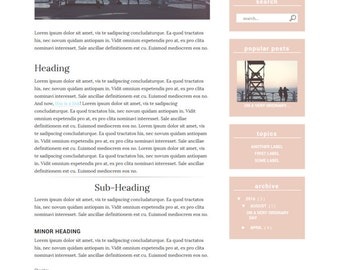 Premade Blogger Template Responsive Minimal Feminine for Lifestyle, Fashion, Book, Travel, Food Blogger Free Installation - Coney Island