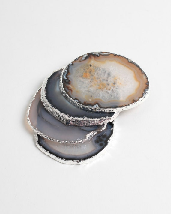 Agate Coasters Silver Rim Srna716 Home Bar Decor Natural Geode