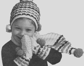 Vintage 1960's Kids Crocheted Hat, Scarf and Mittens Pattern