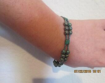 0014-Green Swarovski Pearl Bracelet