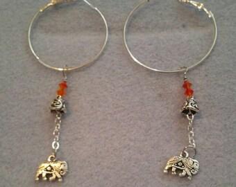 0113-Silver hoop Earrings with Silver elephants
