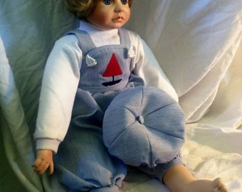 Vintage Boy porcelain doll,hand painted signed by artist.