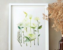 White Tulip, Hydrangea, Rose, Watercolor painting, Flowers, Floral Print, Printable art, Home decor, Floral wall art, Instant Download