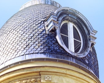 rooftop window, Paris France, Paris window, blue slate roof, Paris architecture, round window, fine art photography, Paris decor, wall art