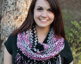 Pink Cowl Scarf Black Cowl Beaded Cowl Fringed Cowl Black & Pink Cowl Gift For Her Gifts Under 50
