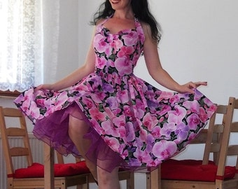 Pinup dress 'Orchid night' stunning rockabilly dress, gathered skirt dress