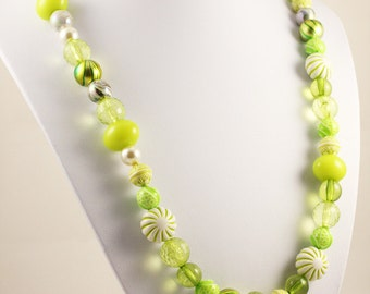 """Lime Green Designer Statement Funky Beaded Necklace approx 66cm (26"""")"""