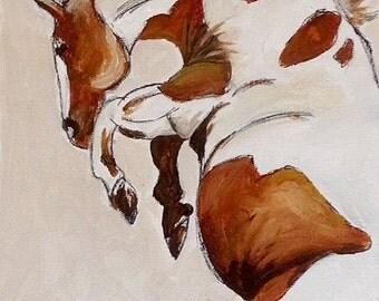 Original Horse Paintig, acrylic /ink on Canvass Board