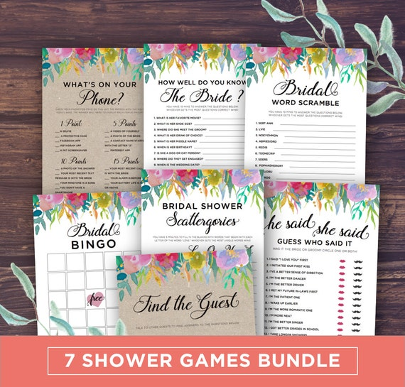 Sale bridal shower games package printable unique for Non traditional bridal shower games