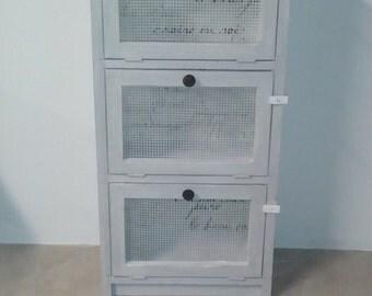 Vintage wooden chicken wire cabinet