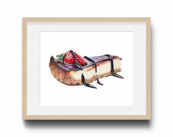Chocolate cheesecake art / Food illustration / Home decor/ Bakery