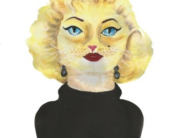 Marilyn Monroe Cat Painting - Original Acrylic