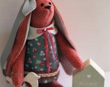 Tilda bunny/hare/rabbit doll with bird and small house
