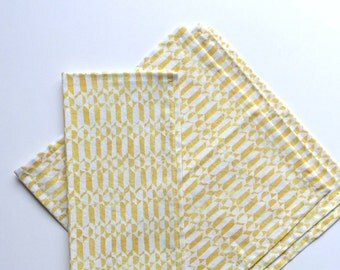 Small Cloth Napkins, Set of 4 - Yellow and Cream Geometric Shapes, 100% Cotton