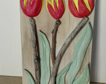 wooden framework tulips red & yellow in ceramic