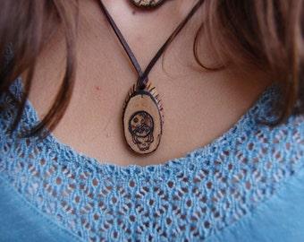 Grateful Dead Woodburned Necklace