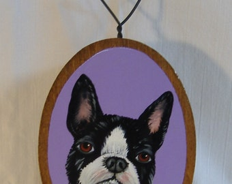 Wooden palque with boston terrier
