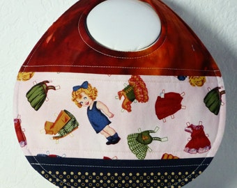 Quilted PAPER DOLL themed Baby Bib