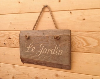 Le jardin, wood sign, garden wood sign, garden decor, garden wall sign