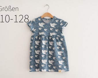 Organic short sleeve dress Hummingbird blue (110-128)