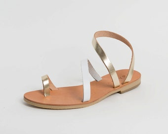 Handcrafted leather sandals in white and gold leather by Almyra /Strappy sandals/wrap around ankle sandals