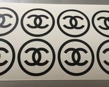 Set of 16 Chanel stickers, Chanel logo decals, Chanel sign stickers, Chanel party stickers, envelope seals, gift favors, laptop stickers
