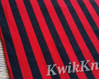 Halloween fabric - Red and black vertical stripes cotton lycra stretch knit fabric - 95/5 - four way stretch knit fabric