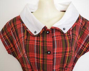 1940's XS S Tartan/plaid Dress with large collar