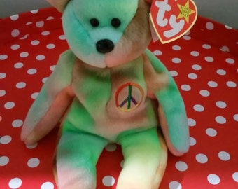 Ty Beanie Baby Peace Bear DOB 02/01/1996, Retired