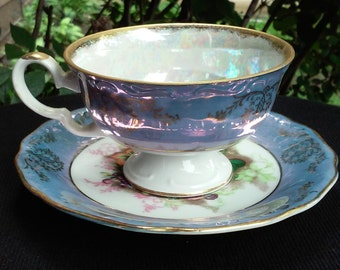 Vintage Very Fine China Lavendar and Gold Tea Cup and Plate