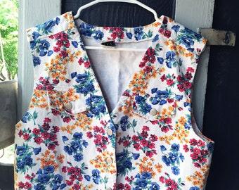 Vintage IVY Floral Denim Vest // Made in U.S.A.