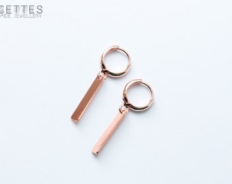 Small hoop earrings, rose gold plated, with rose gold plated charms