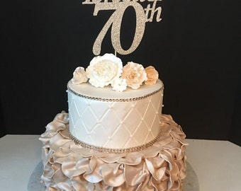 Any Number and Any Name in Any Color, Glitter 70th Birthday Cake Topper