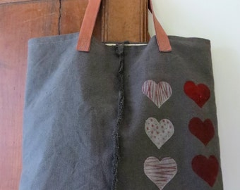Bag with hearts ... Handles and leather bottom, hearts are hand decorated.