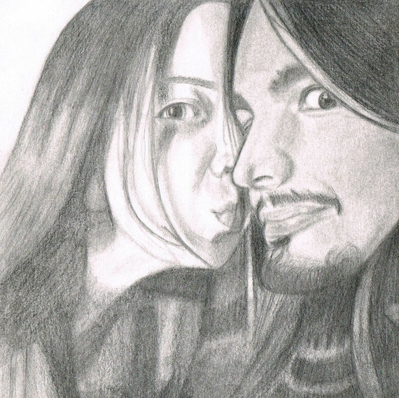 """Custom Hand-Drawn Pencil Couples Portrait from Photo - 6""""x9"""""""