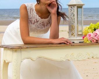 Beach wedding dress Zita,illusion neckline wedding dress, closed back, back on the buttoned, bohemian wedding dress, A-line wedding dress